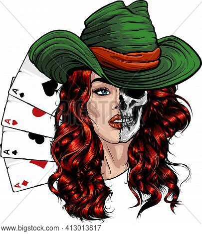 Poker Aces Woth Cowgirl With Red Hair And Hat