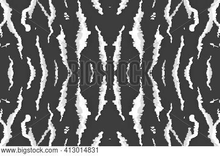 Seamless Zebra Repeat. Fashion Safari Banner. Watercolor Zoo Skin. Gray Camouflage Ornament. Black Z