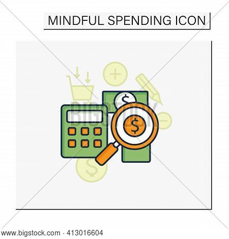 Track Spending Color Icon. Money Spent Calculations. Keep Accounts Track. Thoughtful Spending Money.