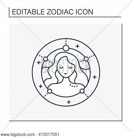 Virgo Line Icon. Sixth Fire Sign In Zodiac. Female Woman Birth Symbol. Mystic Horoscope Sign. Astrol