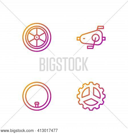 Set Line Bicycle Sprocket Crank, Wheel, And Pedals. Gradient Color Icons. Vector