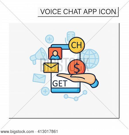 Chat Invite Buy Color Icon. Shares Purchase.communication Application With Friends.invitation Link.