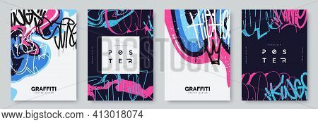 Abstract Graffiti Poster With Colorful Tags, Paint Splashes, Scribbles And Throw Up Pieces. Street A