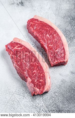 Raw Cap Rump Or Top Sirloin Beef Meat Steak. White Background. Top View