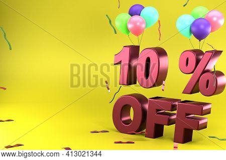 3d Rendering Of Ten Percent Off, Yellow Theme And Different Ballon Colors. Perfect For Background, P