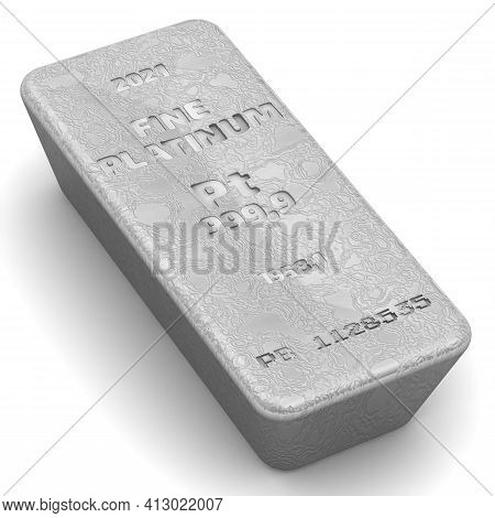 The Highest Standard Platinum Bar. One Ingot Of 999.9 Fine Platinum Bar On White Background. 3d Illu