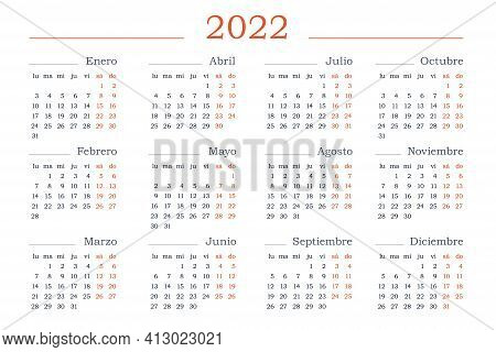 2022 Year Calendar In Spanish. Horizontal Vector Editable Template. Simple And Clean Design Stock Ve