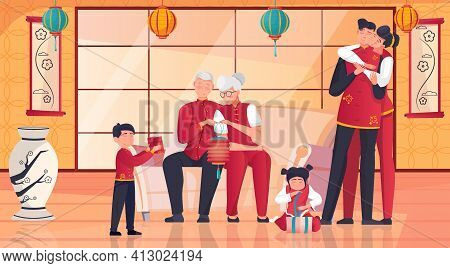 Chinese Family Celebrating New Year Together Unwrapping Presents In Room With Traditional Eastern In