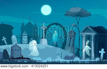 Haunted Cemetery With Old Graves Crosses Crypt On Background With Night Sky And Chapel Silhouette Ca