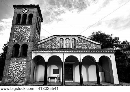 Belfry Of The Orthodox Church On The Island Of Lefkada In Greece, Monochrome