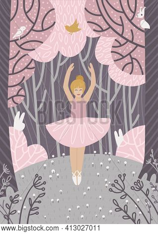 Small Young Ballerina Dancing In Nature. Happy Girl Wearing Ballet Tutu Enjoying Nature Freedom In S
