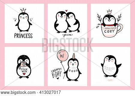 Cute Doodle Penguin Illustrations. Vector Animals Isolated On White, Naive Art. Hand Drawn Penguins
