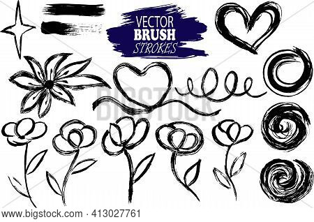 Vector Image Set Of Hand-drawn And Scanned Ink Blobs, Spots, Flowers And Different Lines, Editable,
