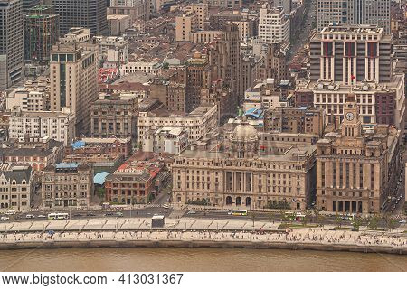 Shanghai, China - May 4, 2010: Customs House With Clock Tower, Domed Hsbc Building Along Bund And Ri