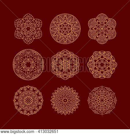 Mandala Set. Vintage Decorative Elements. Hand Drawn Background. Islam, Arabic, Indian, Ottoman Moti