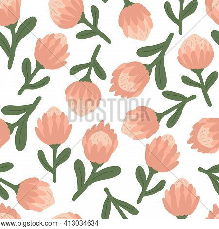 Spring Seamless Pattern With Pink Protea Flowers. Ideal For Fabrics, Wrapping Paper And Decoration P