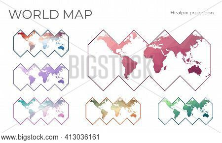 Low Poly World Map Set. Healpix Projection. Collection Of The World Maps In Geometric Style. Vector