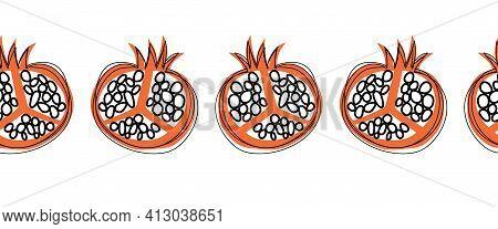Seamless Pomegranate Fruit Vector Border. Repeating Horizontal Pattern Doodle Pomegranates Black Whi