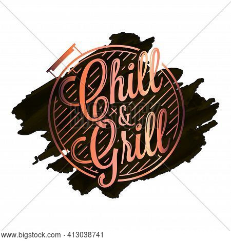 Chill And Grill Watercolor Logo. Bbq Grill