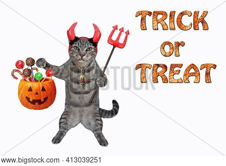 A Gray Cat In Red Horns Is Holding A Devil Trident And A Pumpkin Pail With Candies For Halloween. Wh