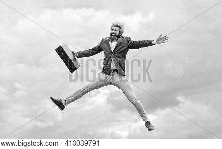 Find Your Life Mission. Businessman Run Away Business Case. Feel Impact. Hipster Hold Briefcase. Hap