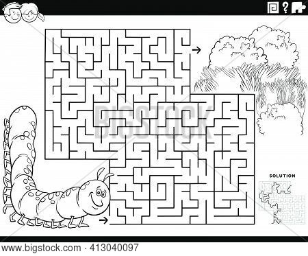 Black And White Cartoon Illustration Of Educational Maze Puzzle Game For Children With Caterpillar C
