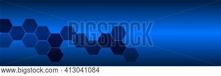Abstact Header With Blue Polygons. Vector Banner For Your Website And Presentation. Modern Vector De