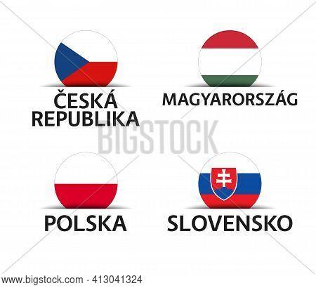 Czech Republic, Hungary, Poland And Slovakia. Set Of Four Czech, Hungarian, Polish And Slovak Sticke