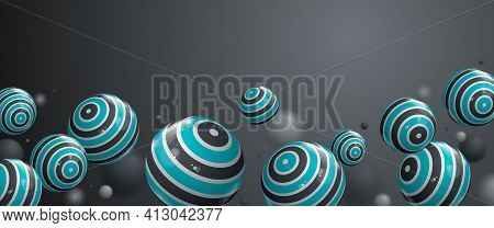 Abstract Glossy Realistic Spheres Vector Background With Blank Copy Space, Composition Of Flying Bal
