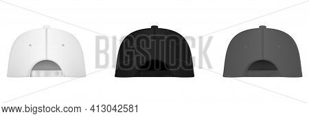 Uniform Cap Or Hat. Mockup And Blank Template Of Baseball Uniform Cap With Back Side View. Isolated