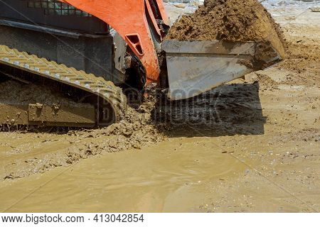 Small Tractor Digging Land Working With Land Level The Ground