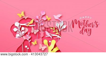 Happy Mother's Day Paper Cut Greeting Card Of Mom With Child Son And Colorful Spring Nature. Modern