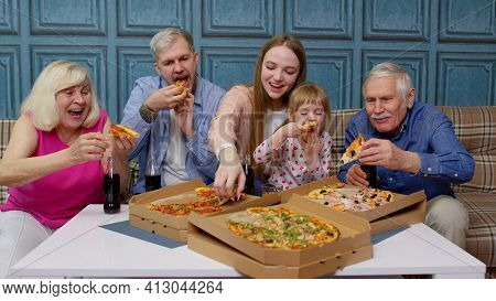 Multigenerational Family Having Lunch Party, Eating Pizza Food, Laughing Enjoying Meal Together