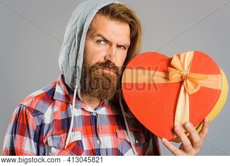 Bearded Man Holds Heart Gift Box. Present With Love. Present And Gifts Buy. Time For Presents.