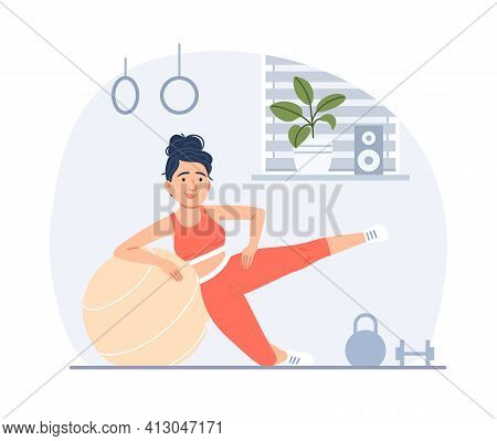 Flat Young Woman Doing Fitness With Fit Ball In Gym. Healthy Lifestyle Sport Training Concept. Carto