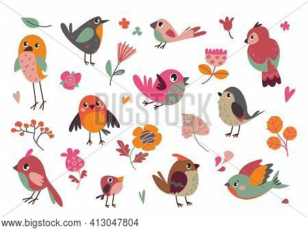 Set Of Vector Birds. Cartoon Illustration In Childish Style. Images Are Isolated On White Background