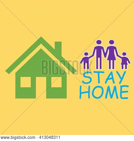 Illustrations Show Pictures Of A House And A Family. It Is To Symbolize A Complete Family. There Is