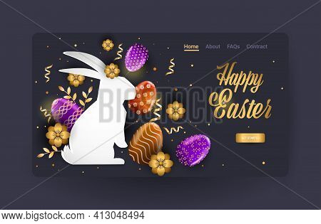 Happy Easter Holiday Celebration Sale Banner Flyer Or Greeting Card With Decorative Eggs In Rabbit S