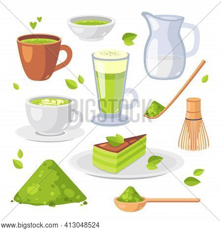 Japanese Ethnic And National Tea Ceremony. Collection Of Matcha Tea Products. Matcha Powder, Tea Cup