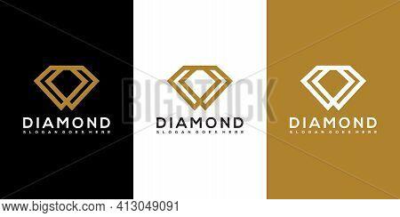 Diamond Logo Vector Designs Mono Line Premium Logo Vector