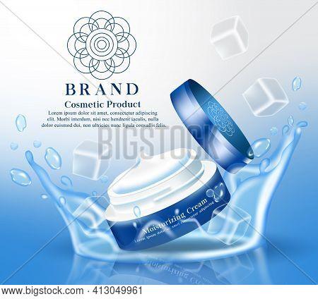 Moisturizing Cream Cosmetics Product Vector Banner Template. Moisturizer Cooling Cream Cosmetic Prod