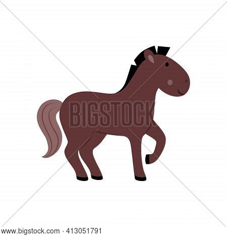 Children's Drawing Of A Horse. Illustration With A Horse For A Children's Book, Alphabet, Educationa
