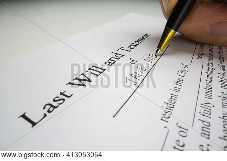 Close-up View Of Writing A Last Will With Placeholder Name, Shot With Macro Probe Lens