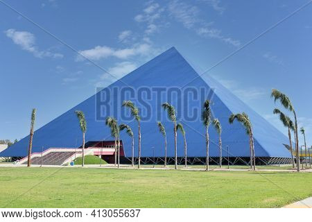 LONG BEACH, CALIFORNIA - 16 MAR 2021: The Walter Pyramid, formerly known as The Long Beach Pyramid, is a 4,000-seat, indoor multi-purpose arena on the campus of Long Beach State University.