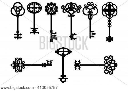 Cartoon Vintage Keys. Vector Design Illustration. Icon Set. Stock Image. Eps 10.