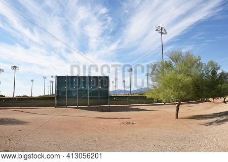 SURPRISE, ARIZONA - NOVEMBER 24, 2016: Surprise Stadium Practice Field Hitters Backdrop. The facility is the Spring Training home of both the Texas Rangers and Kansas City Royals.