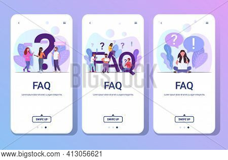 Set Mix Race People With Question Exclamation Marks Using Digital Devices Online Support Center Freq