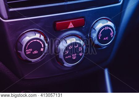 Novosibirsk, Russia - March 16  2021: Subaru Forester, Conditioner And Air Flow Control In A Modern