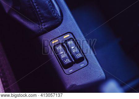 Novosibirsk, Russia - March 16  2021: Subaru Forester, Close Up Shot Of Car Seat Heating Control Pan