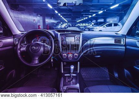 Novosibirsk, Russia - March 16  2021: Subaru Forester, Salon Of A New Stylish Car, Steering Wheel ,